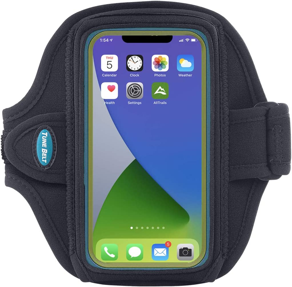 Tune Belt AB88 Cell Phone Running Armband Holder, Pocket Size fits OtterBox Commuter or Similar Case for iPhone 12/13 Mini, SE 2020 and iPhone X/XS, Water Resistant (Black)