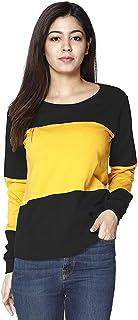 V3Squared Women's Cotton Blend Round Neck Horizontal Stripes Full Sleeves Tshirt Top