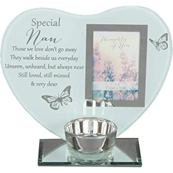 PERSONALISED MEMORIAL MIRRORED GLASS CANDLE HOLDER GUARDIAN ANGLE CHRISTMAS GIFT
