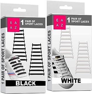 EAZLIFE Lacets Elastiques Sans Noeud, Lacets Magiques Silicone No Tie Aultes et Enfants, Noir, Blanc, Gris, Orange, Rose, ...