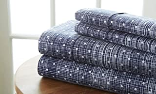 Becky Cameron Polkadot Printed Patterned Quality 4 Piece Sheet Set, Queen, Navy