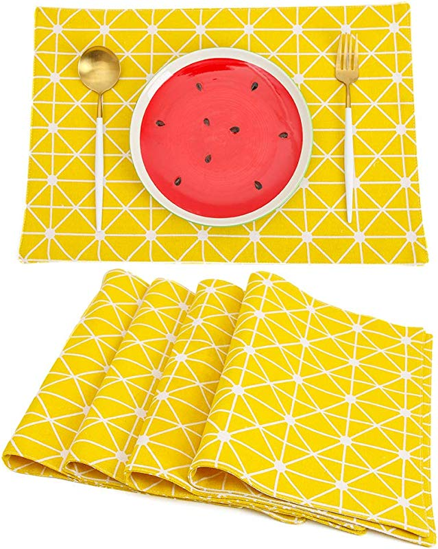 TEWENE Placemats Washable Placemats For Dining Table Double Fabric Printing Cotton Place Mats For Kitchen Table Set Of 4 Table Mat Geometry Yellow 4Pcs 12 X18