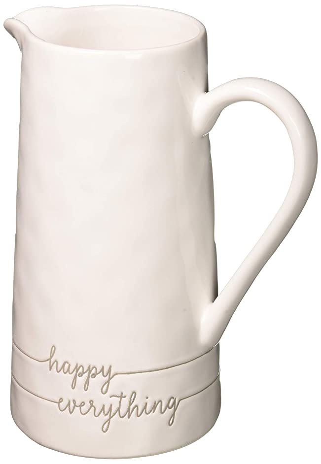 Mud Pie 4555015 Happy Everything Beverage Pitcher, White