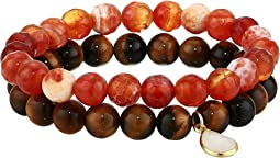 Freedom Tiger Eye Genuine Gemstone Beaded Bracelet Set