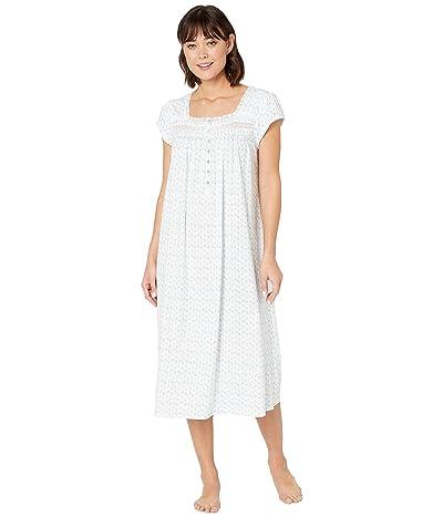 Eileen West Short Sleeve Ballet Nightgown (White Ground/Daisy Geo) Women