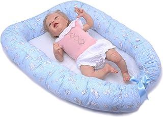 PEKITAS Baby Nido para Bebe Reductor de Cuna Recien Nacido Algodón (Azul Celeste Ovejas Ositos, 90 x 50 cm)