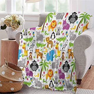 Nursery Luxury Special Grade Blanket Various Types of Animals Drawn Cute Manner Lions Koalas Tigers Crocodiles Monkeys Multi-Purpose use for Sofas etc. W80 x L60 Inch Multicolor