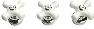 Porcelain Handle 3-pcs Set, Chrome Finish, Fits Price Pfister Shower Valve - By Plumb USA 32336 X 3