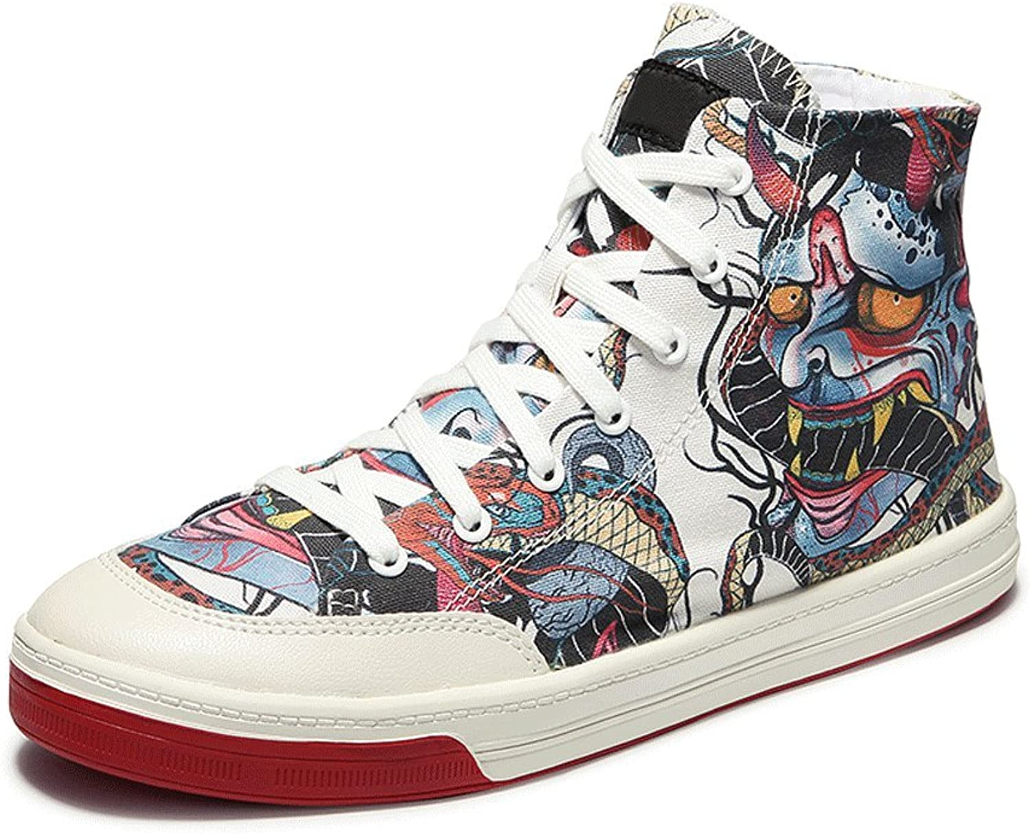 LIUXUEPING Summer Korean Version High Heel shoes shoes Hip-hop Graffiti Canvas shoes Male Student Tide shoes Male Hip-hop shoes (color   Multi-colord, Size   37)