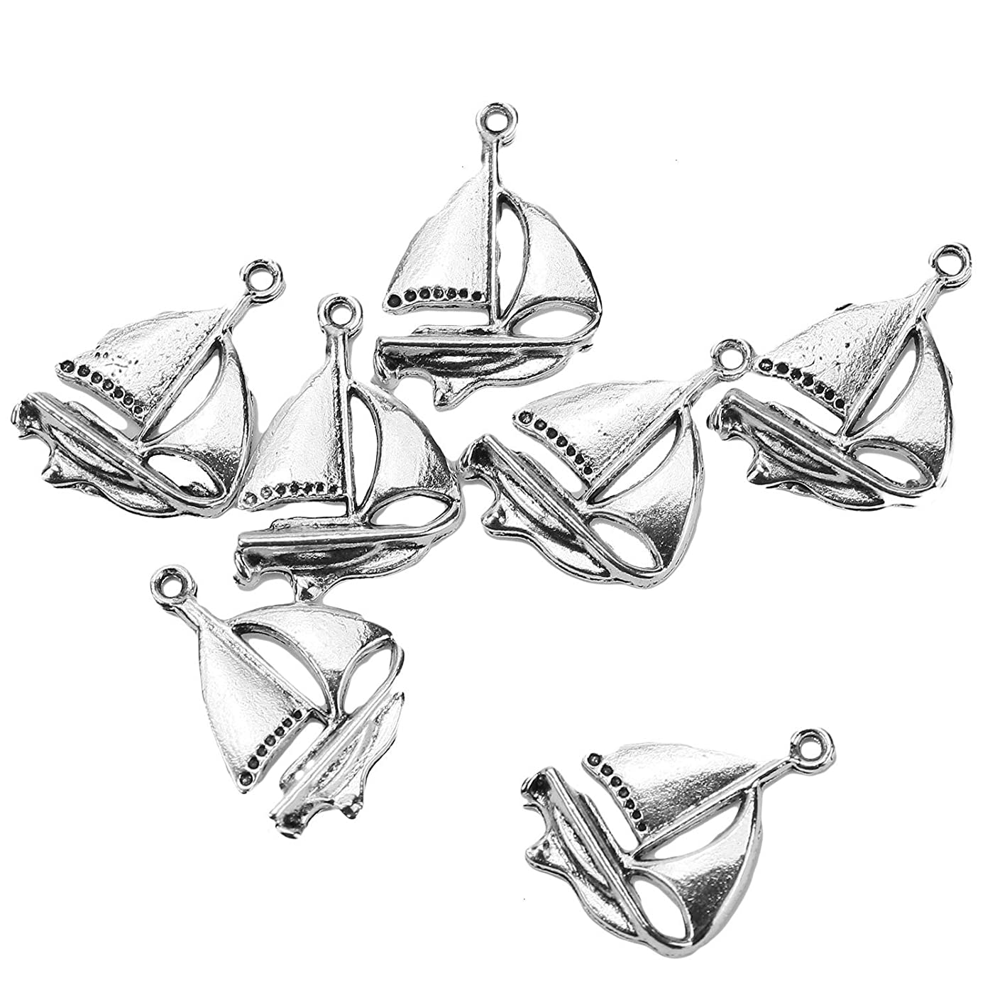 Monrocco 100 Pcs Antique Silver Tone Yacht Style Sailboat Charms Vintage Crafting Pendant Jewelry Making Supplies DIY for Necklace and Bracelet