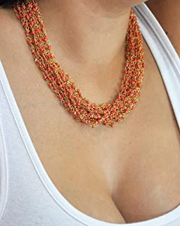 vintage red glass necklace