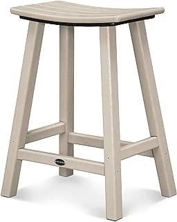 POLYWOOD 2001-SA Traditional Counter Height Saddle Seat Barstool, Sand