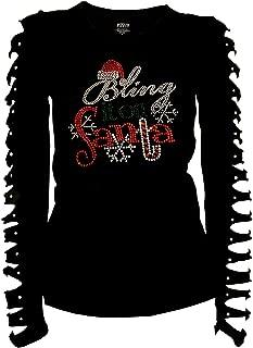 Christmas Bling Rhinestones T-Shirt Bring it on Santa Ripped Cut Out Ln
