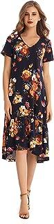 AIYIPIN Womens Short Sleeve Dress Ruffled Hem Loose Tunic Swing Dresses