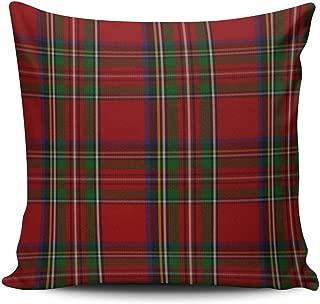 SALLEING Custom Fashion Home Decor Pillowcase Red Stylish Royal Stewart Tartan Plaid Square Throw Pillow Cover Cushion Case 18x18 Inches One Sided Print