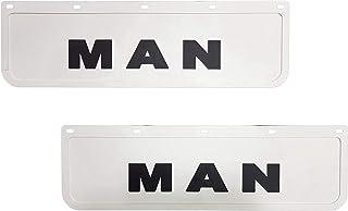 2 Stück Strapazierfähige Gummi Schutzbleche/Schmutzfänger für LKW, Weiß, mit schwarzem LKW Anhänger, 60 x 18 cm