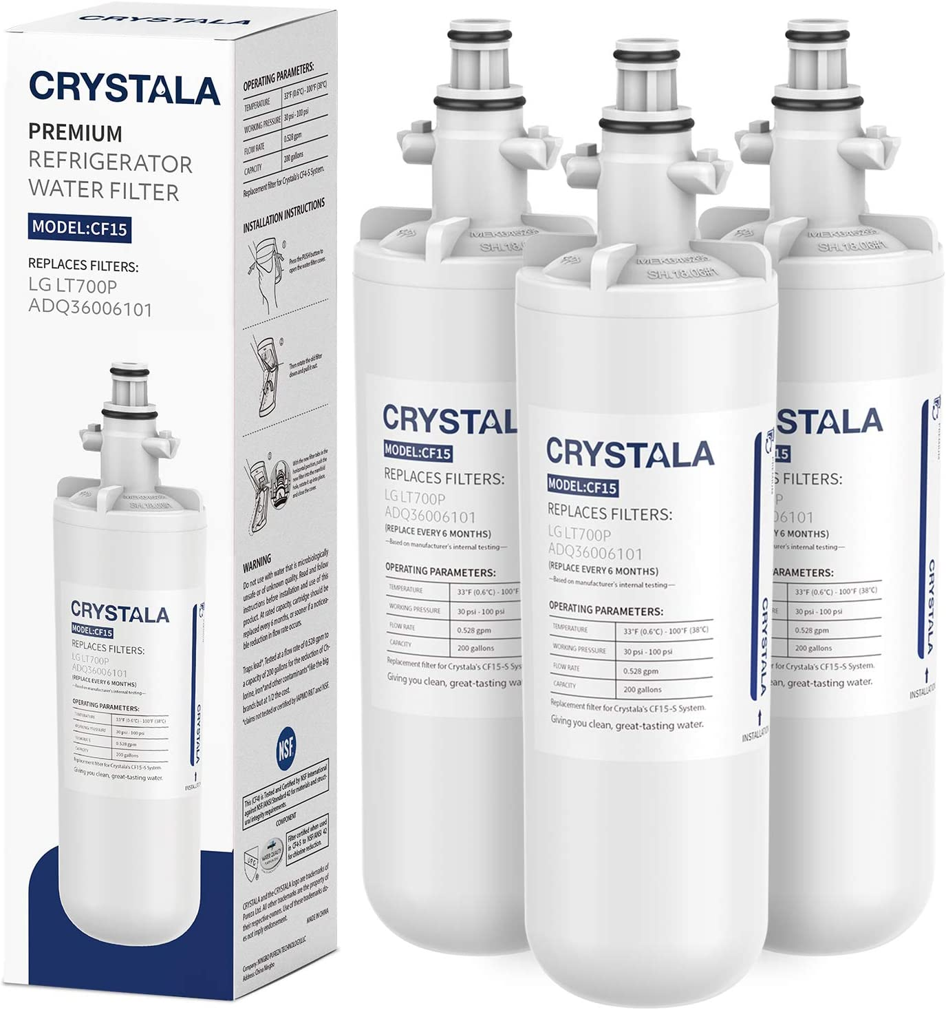 Crystala Filters All items free shipping LT700P Refrigerator Water Max 90% OFF Filter Replacement LG