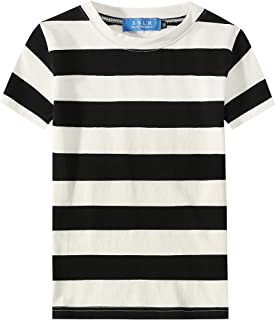 Big Boy's Cotton Crewneck Casual Short Sleeve Stripe T-Shirt