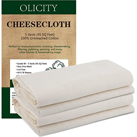 Olicity Cheesecloth, Grade 90, 45 Square Feet, 100% Unbleached Cheese Cloth Cotton Fabric Ultra Fine Reusable Muslin Cloths for Butter, Cooking, Strainer, Baking, Halloween Decorations - 5 Yards