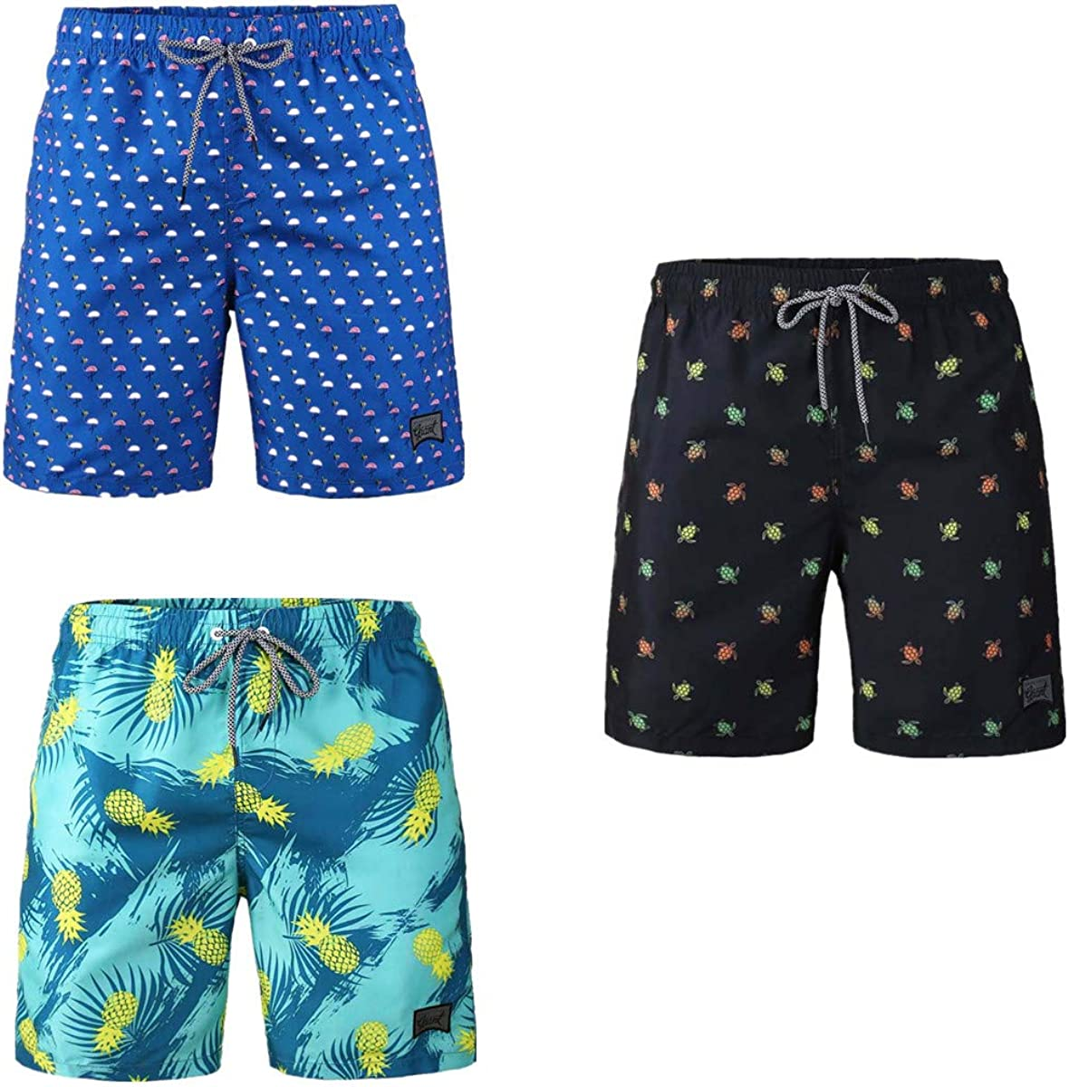 3-Pack Men's Board Shorts Drawstring Vacation Beach for Swimming Loose Quick Dry Swim Pants