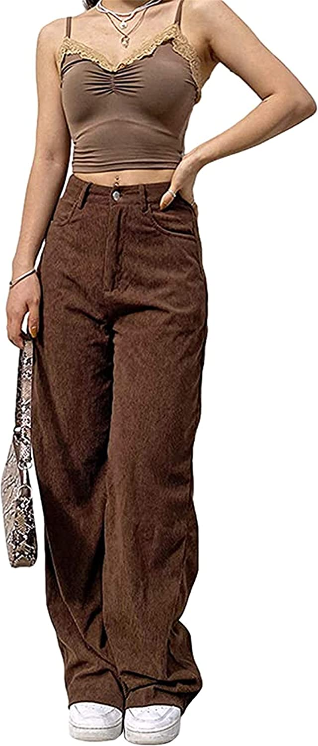 Women High Waist Corduroy Vintage Loose Straight Wide Leg Pants Ladies Girls Solid Color Casual Baggy Trousers