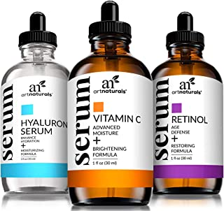 ArtNaturals Anti-Aging-Set with Vitamin-C Retinol and Hyaluronic-Acid - (3 x 1 Fl Oz / 30ml) Serum for Anti Wrinkle and Dark Circle Remover – All Natural and Moisturizing