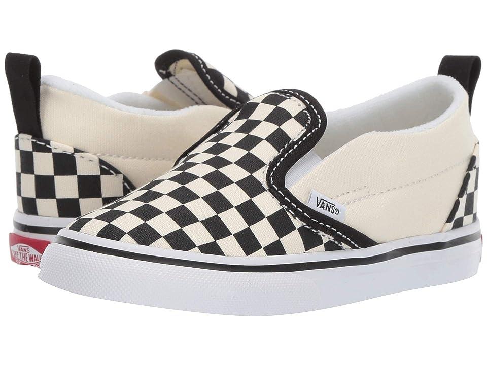 Vans Kids Slip-On V (Infant/Toddler) ((Checkerboard) Black/White) Kids Shoes