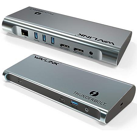 WAVLINK デュアル4K@60Hz DP シングル8K@30Hz Thunderbolt3ドッキングステーションUSB C GEN 2と互換性がある 60W充電 ギガビット バスパワー 40Gbs音声入出力 Windows/Mac OS 対応「インテル認定済」