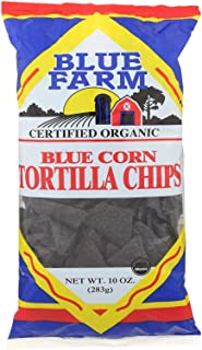 BLUE FARM, Organic Blue Corn Tortilla Chips, Pack of 12, Size 10 OZ - No Artificial Ingredients 95%+ Organic