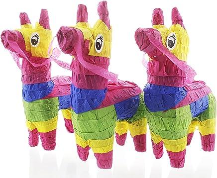 Pack of 3 Miniature Donkey Pinatas - Rainbow Donkey Mini-Sized Mexican Pinatas for Birthday Party Cinco De Mayo Fiestas Celebrations - 4 x 7.5 x 2 inches