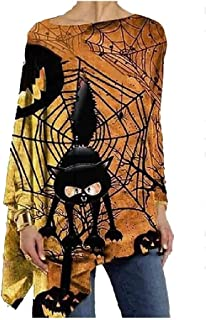 HEFASDM Womens Trendy Floral Print Pumpkin Halloween Blouse Long Sleeve Tee Shirt