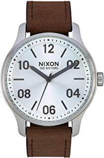 NIXON Patrol Leather A1243 - Silver/Brown - 100m Water Resistant Men's Analog Classic Watch (42mm Watch Face, 21mm Leather Band)
