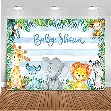 Mocsicka Safari Baby Shower Backdrop 7x5ft Soft Fabric Blue Stripe Jungle Safari Background Zoo Party Jungle Animals Baby Shower Photography Backdrops