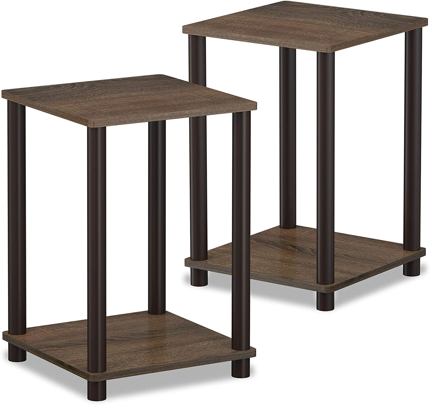 Furinno 2-99800WN Turn-N-Tube Haydn 2-Pack End Table, Walnut Brown