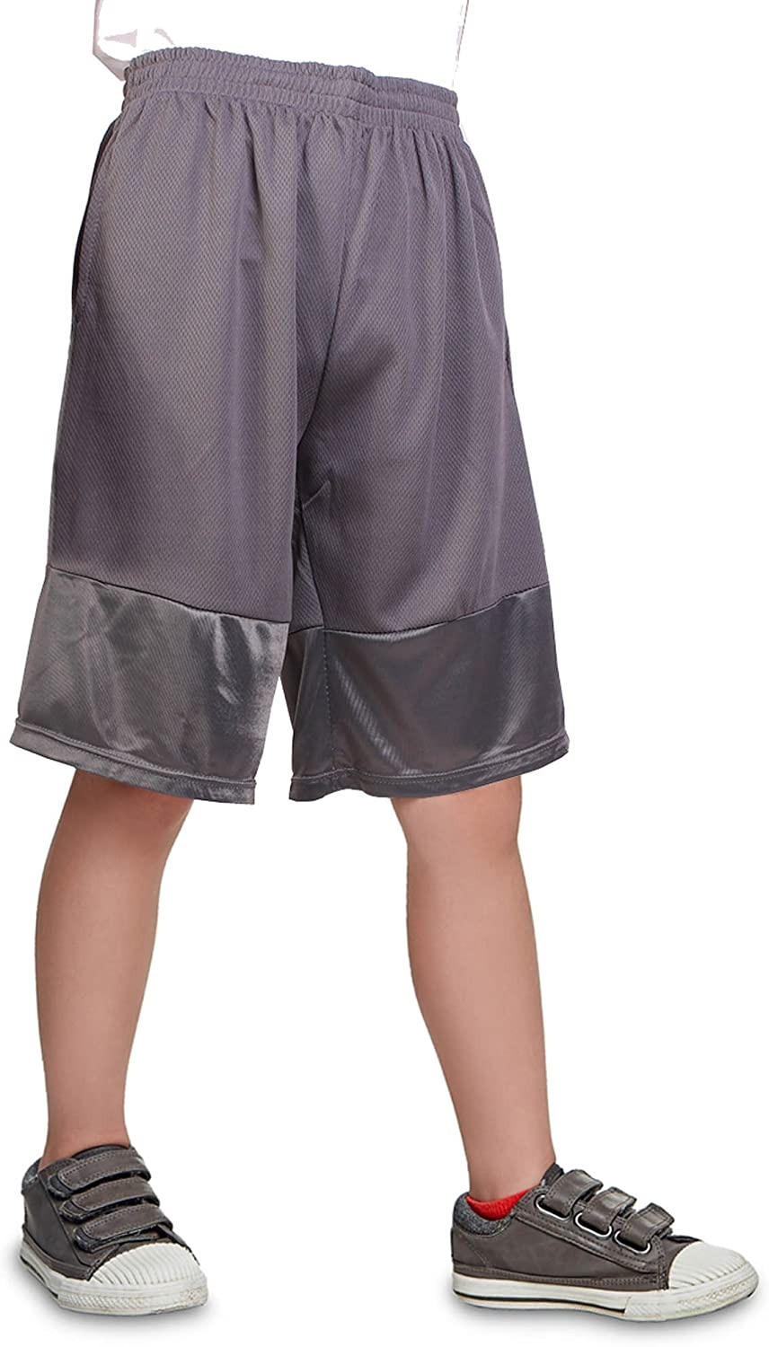 North 15 Boy's Athletic Basketball Shorts with Side Pockets (8-18)