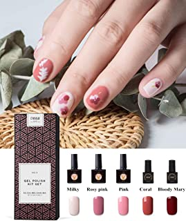 Gift Package Gel Nail Polish Semi-permanent UV LED Gel for Nails 5 Colors Manicure Nail Art Gel Nail Varnish, Milky Beige Rosy Pink Coral Orange Tone Bloody Mary Velvet Red