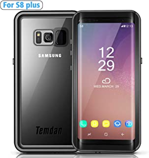 Temdan Galaxy S8 Plus Waterproof Case Rugged Built in Screen Protector with Floating Strap Shockrproof Waterproof Case for Samsung S8 Plus(6.2inch) (Black) (S8 Plus 6.2 inch)