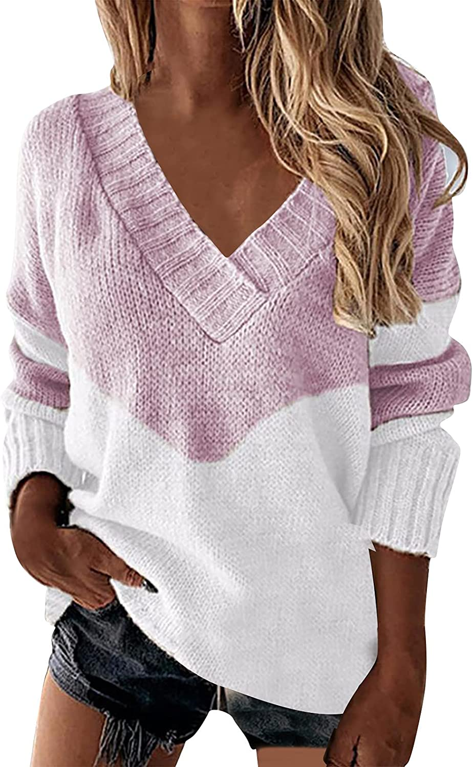 Fall Sweaters for Women Long Sleeve V-Neck Fashion Stitching Knitted Shirt Casual Pullover