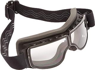 PiWear® Nevada klar Motorradbrille für Brillenträger geeignet Überbrille Brille über Brille für Helm beschlagfrei rutschfest gepolstert Retro Classic