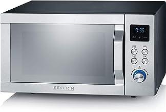 Severin MW 7755 - Microondas Inverter con grill y aire caliente 3-en-1, concepto Easy Select, mando giratorio de selección, plato adicional antiadherente para pizza