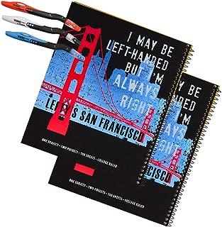 Left-handed San Francisco Skyline College Ruled Notebooks, Set of 2 + 3 Left-handed Visio Pens.