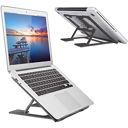 NaCot Aluminum Adjustable Laptop Holder Laptop Stand for Desk Portable Ergonmic Computer Laptop Riser Notebook Stand for Compatible with MacBook Air Pro Lenovo 10-17 Laptops Dell XPS