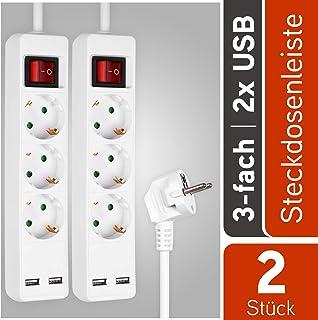 HEITECH 3 fach Steckdosenleiste mit 2 USB Ports - GS & TÜV geprüfte Mehrfachsteckdose mit Schalter, Kindersicherung, 1,4 Meter Kabel, 3680W - 2er Pack Steckerleiste Mehrfachstecker Tischsteckdose