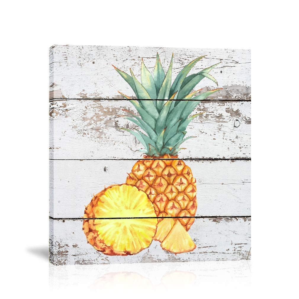 K Road Pineapple Wall Art Framed Canvas Painting Rustic Print Fruit Picture  Kitchen Bedroom Decor Pineapples Sliced 32x32in