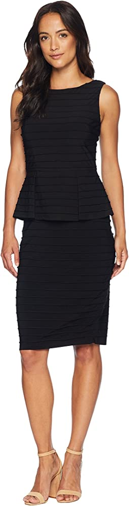 Matte Jersey Pintucked Peplum Dress