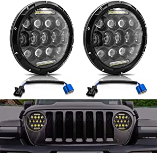Taben Phare rond avec yeux dange Cree 6000 K Hi//lo Beam de 17,8 cm et DRL Lampe Halo pour Jeep Wrangler JK TJ LJ Harley Davidson
