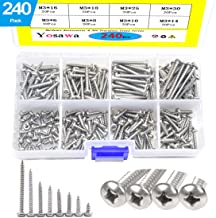 Yosawa #6 240-Pieces Stainless Steel Phillips Pan Head Self Tapping Screw Assortment Kit ZGM3