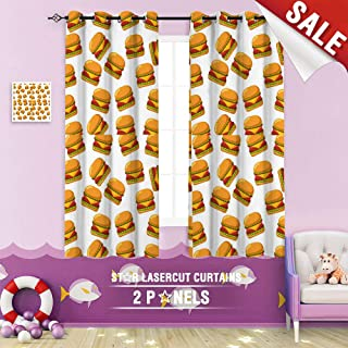 Big datastore home Kids Curtain, American Art Background Beef Bread bun Burger Cartoon Cheese Cheeseburger Cuisine 84 x 72 inch Grommet Room Darkening Blackout Drapes