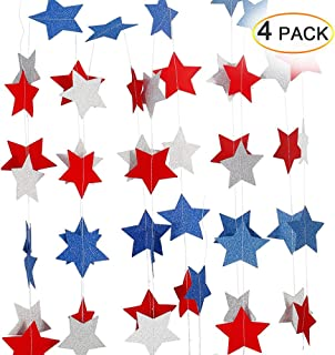 Lumiparty Patriotic Decorations Hanging Streamers (4 Pack), 4th of July Decorations, Red White Blue Star, Patriotic Party Supplies, DIY Birthday Party Decorations, DIY Room Decorations