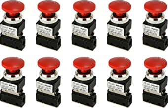 10 Qty Latching Push Button Normally Closed Pneumatic Air Control Valve 2 Port 2 Way 2 Position 1/8